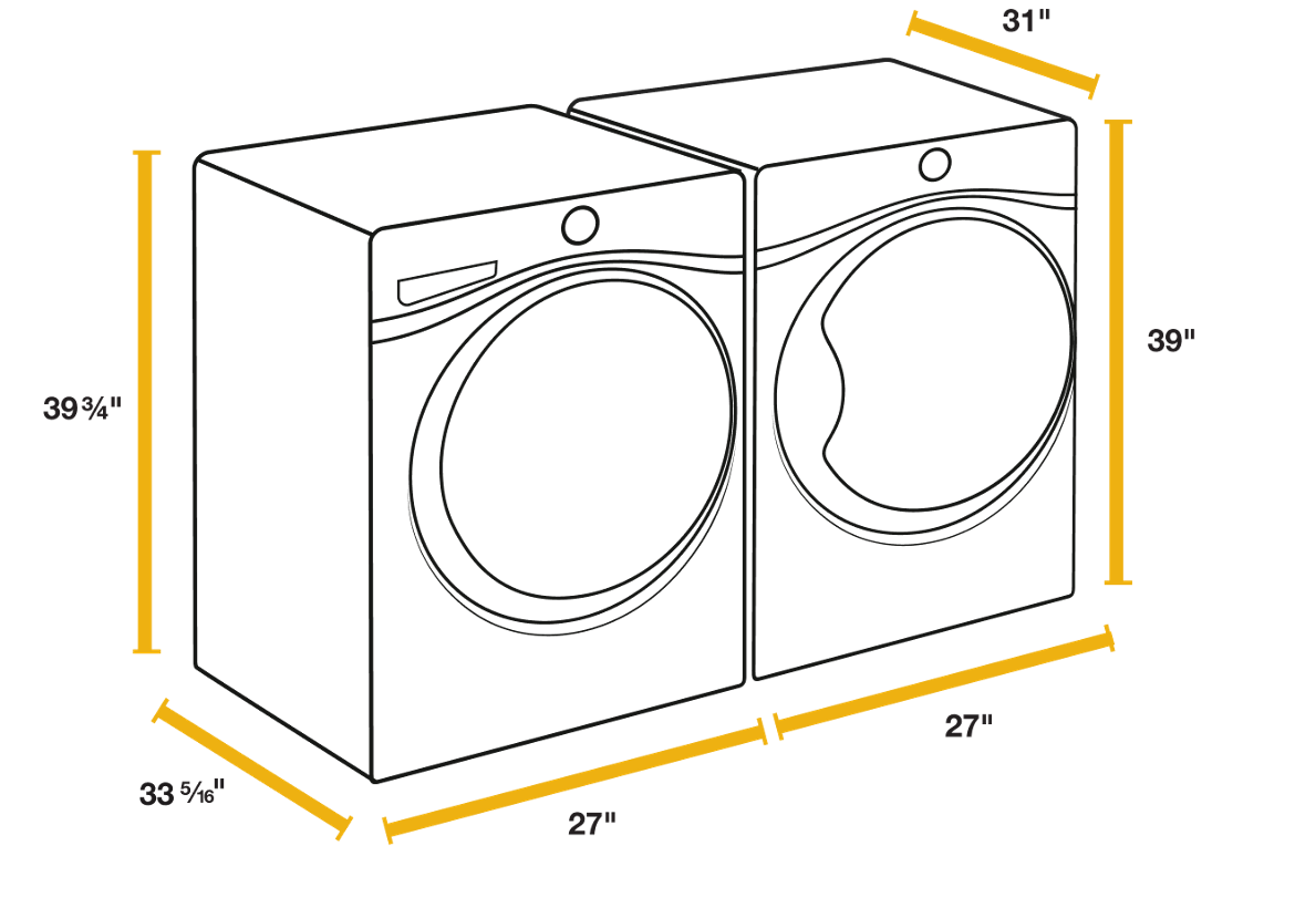 Washer sizes and dryer sizes for the perfect fit.