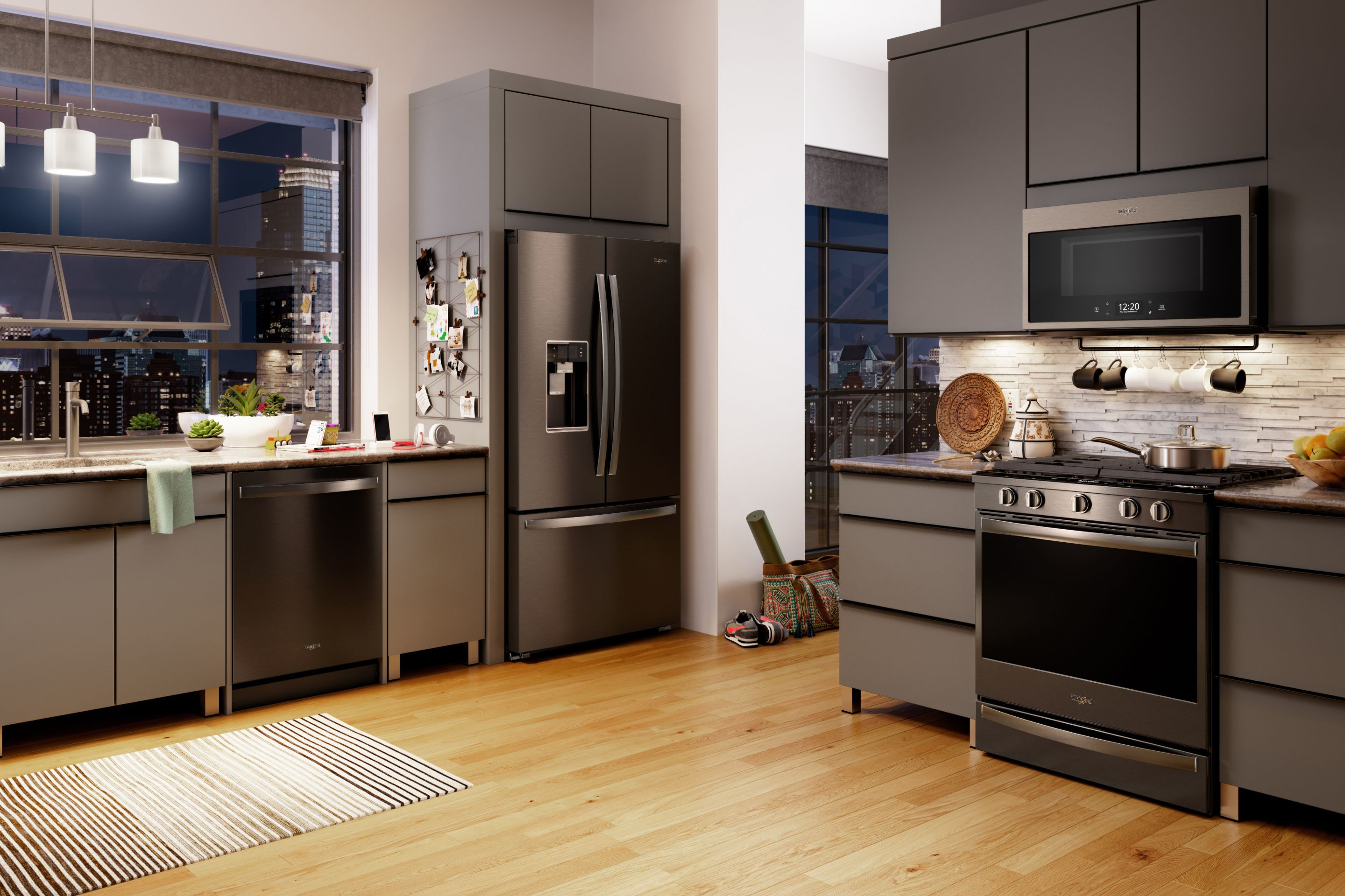 Fingerprint-resistant black stainless steel appliance finishes elevate the style of your kitchen.