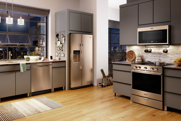 Whirlpool(R) appliance suite in Sunset Bronze.