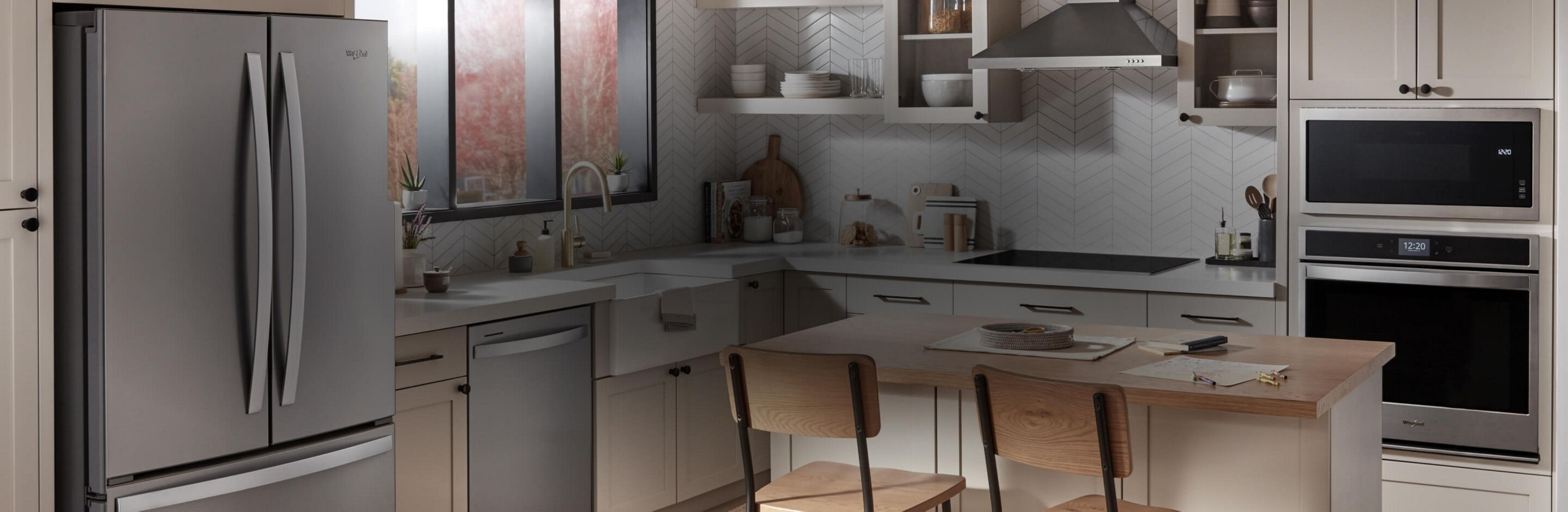 A kitchen equipped with Whirlpool® appliances.