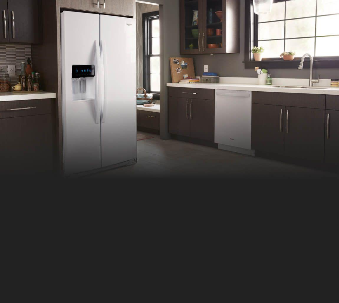 Whirlpool® side-by-side refrigerator.