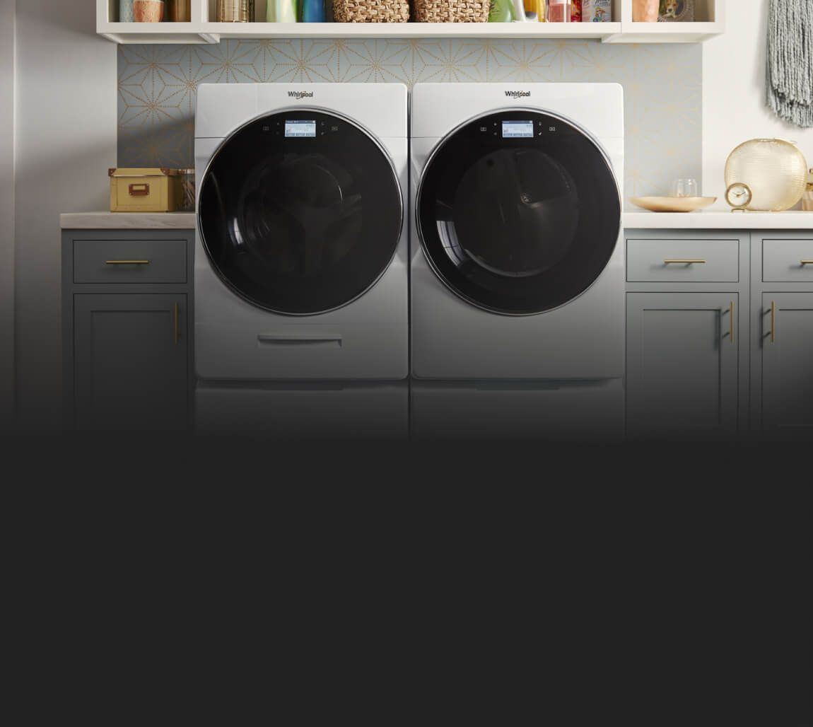 Whirlpool® front load washer and dryer.