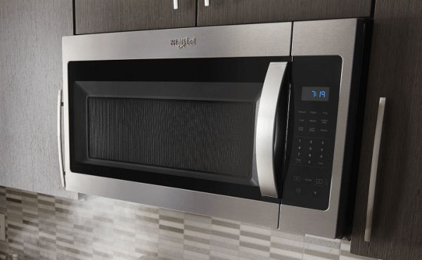 Over-the-range microwave in a modern kitchen