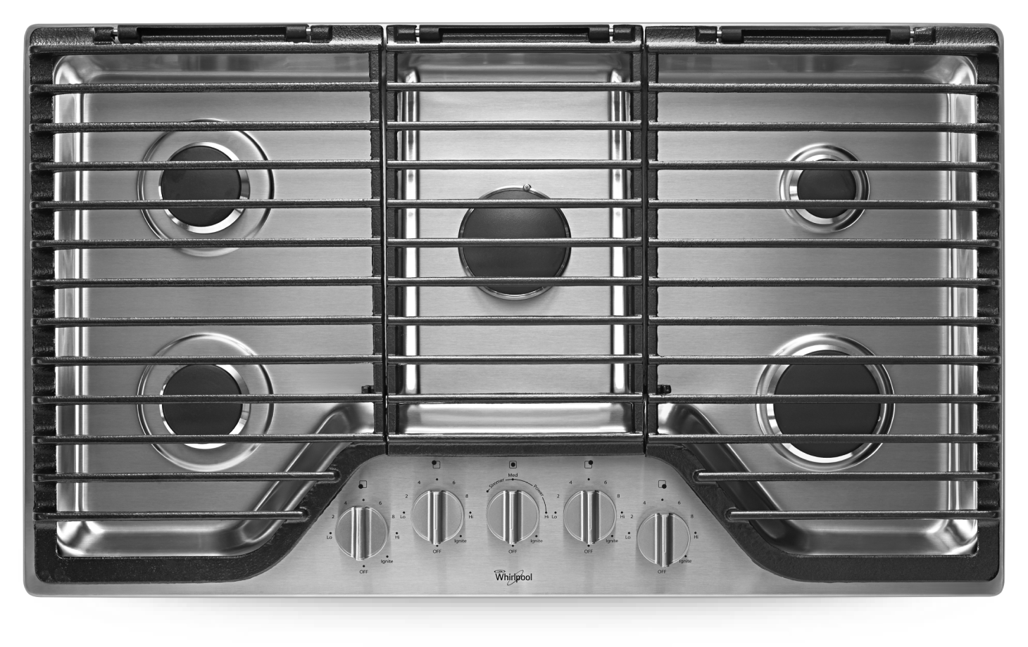 36-inch 5 Burner Gas Cooktop with EZ-2-Lift™ Hinged Cast-Iron Grates