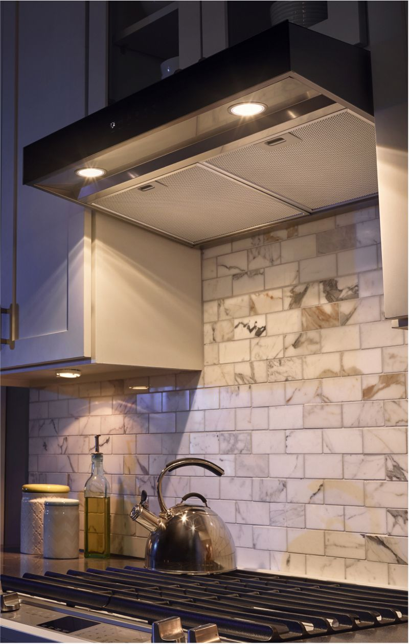Make sure the kitchen vent hood you choose is the right size with the FIT system from Whirlpool.