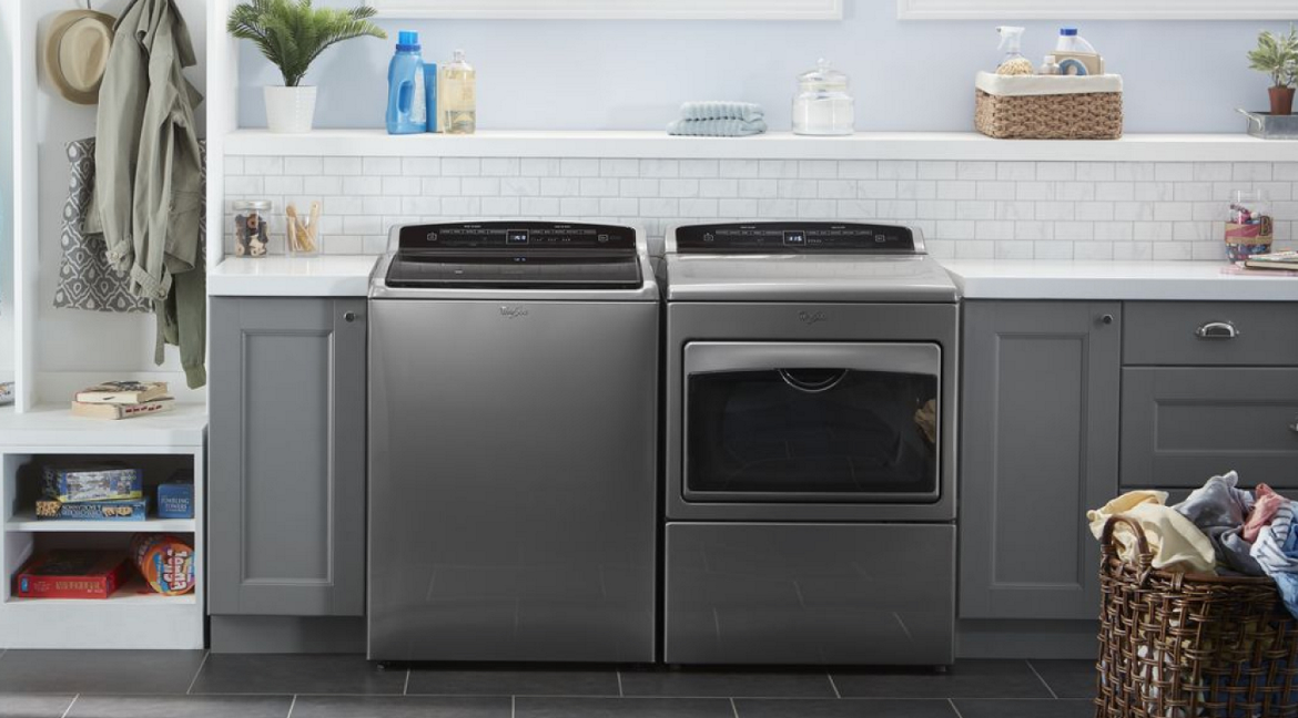 Washer and dryer pair with intuitive touch screens from Whirlpool.