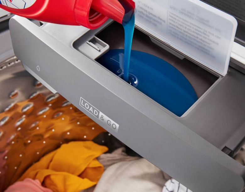 Top load washer with laundry soap dispenser
