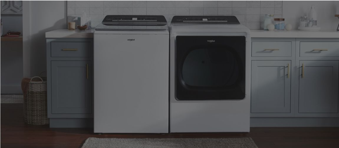 A laundry room set with a Whirlpool® washer and dryer.