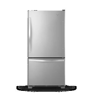 Stainless steel Bottom-Freezer refrigerator.