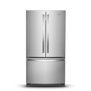Stainless steel French door refrigerator.