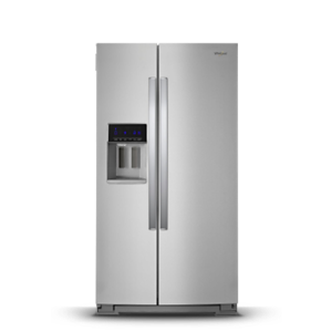 Stainless steel Side-by-Side refrigerator.