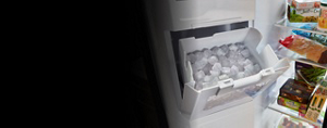 Refrigerator in-door ice bucket.
