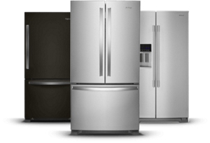 Black and stainless steel refrigerators from Whirlpool.