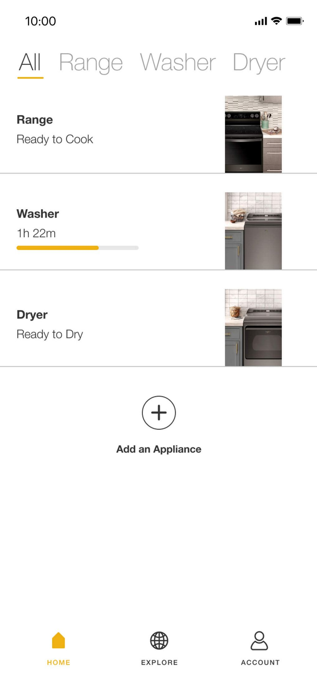 Screens in the Whirlpool® app