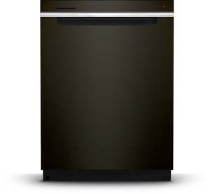Stainless steel tub dishwasher with pocket handle