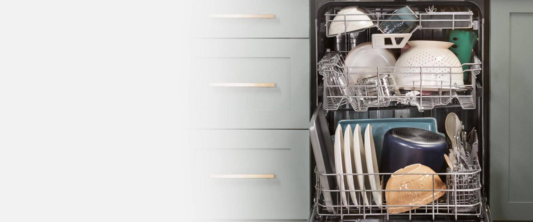 Wash sprays reach every rack to clean each dish