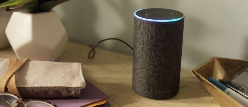 Amazon Echo device on desktop