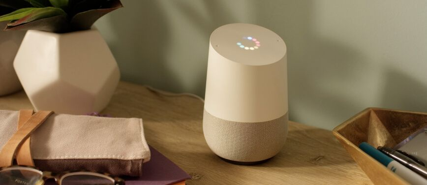Google Home device on desktop
