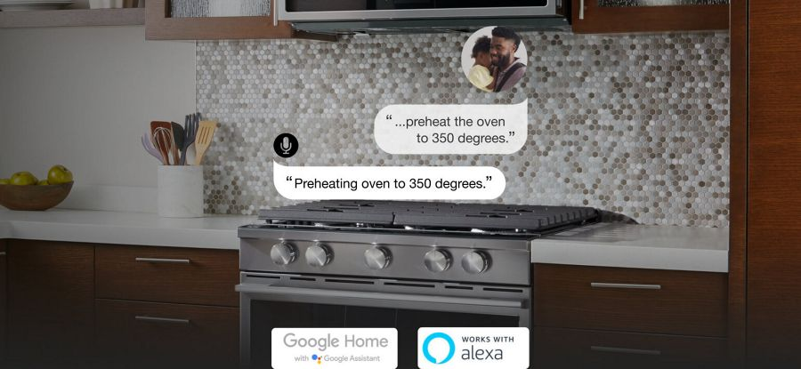 Voice command to preheat oven and Whirlpool® smart slide-in range reacting
