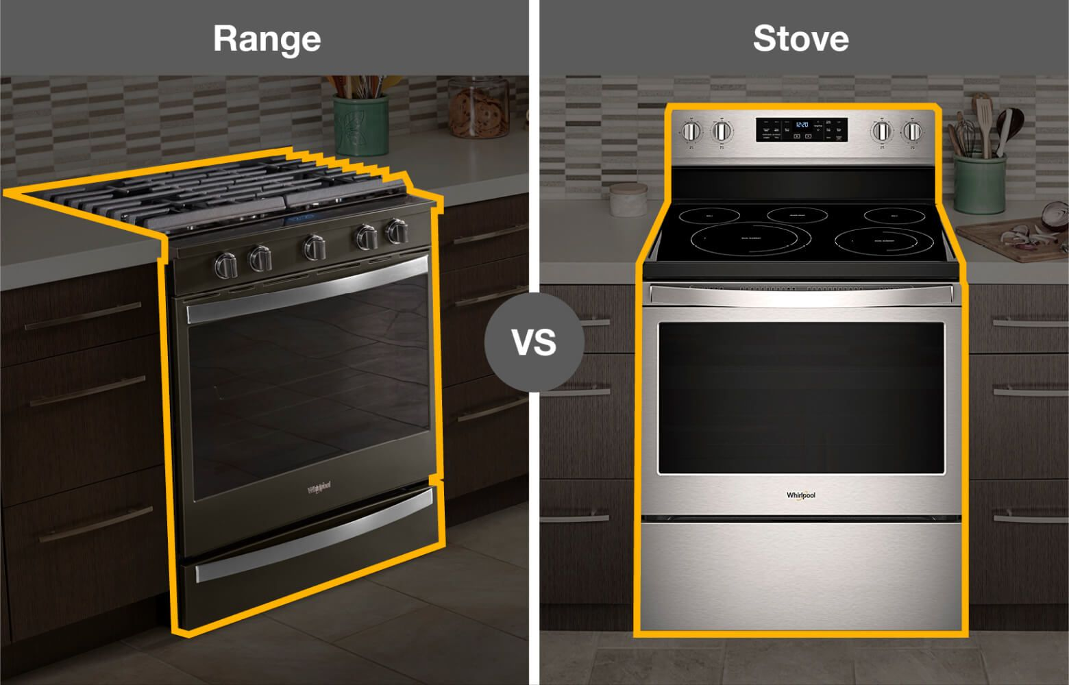 Whirlpool® kitchen range and stove with outline
