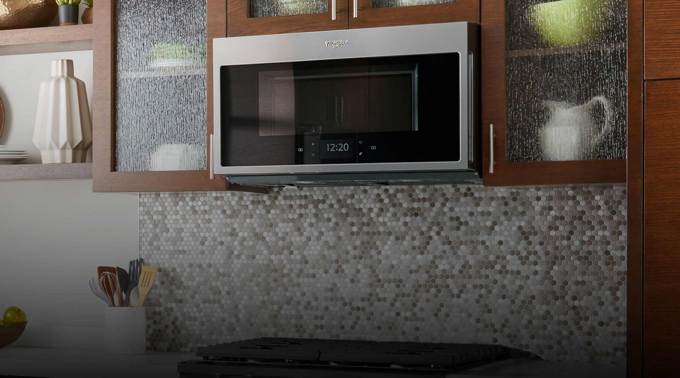 Whirlpool® smart microwave hood combination in a kitchen