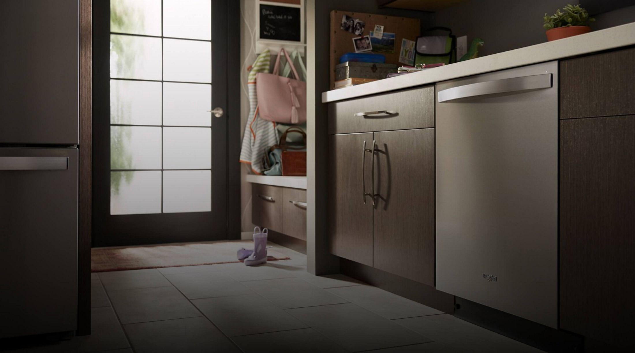 Whirlpool® dishwasher near an entryway