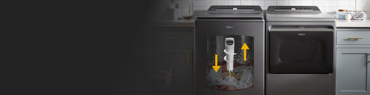 A Whirlpool® Smart Washer with the 2 in 1 Removable Agitator