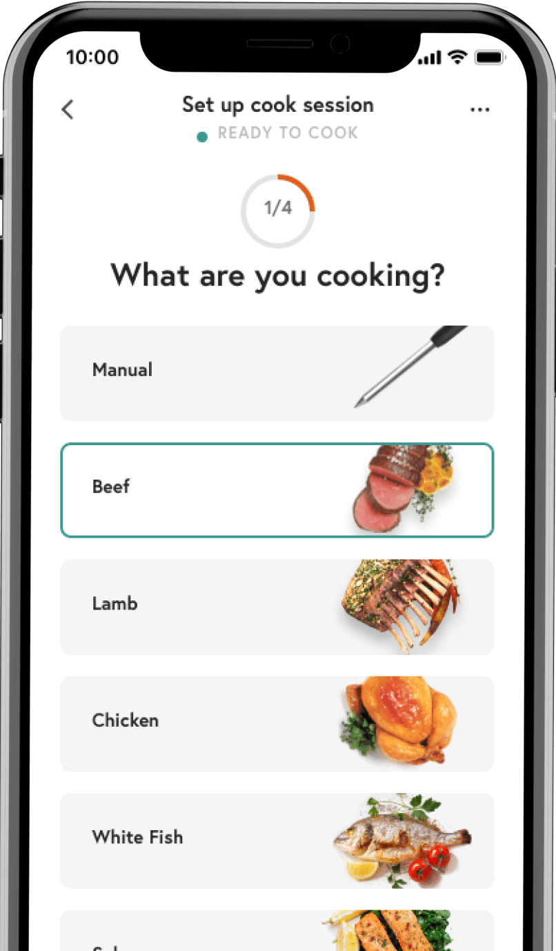 Smartphone with protein choice menu on the Yummly® app screen