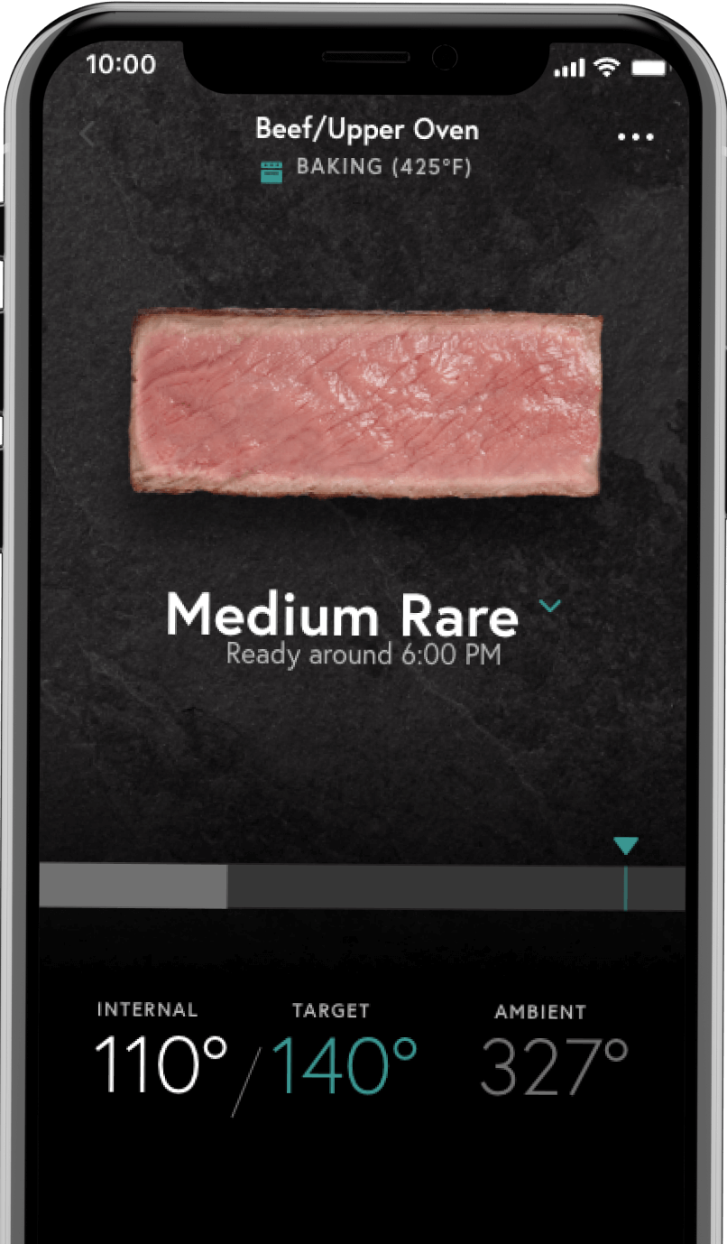 Smartphone showing meat cooking progress on the Yummly® app screen