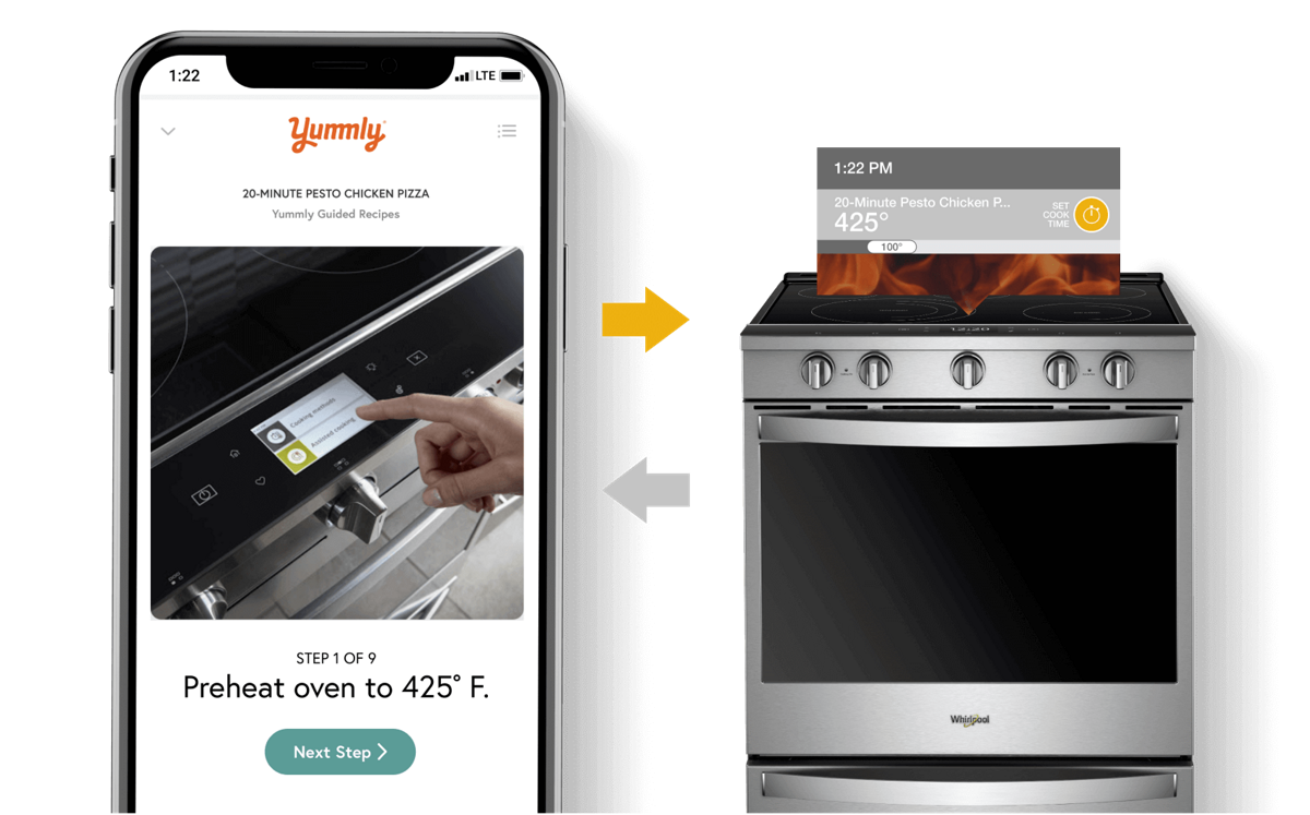 Smartphone sending cook temperature from the Yummly® app to a Whirlpool® smart range