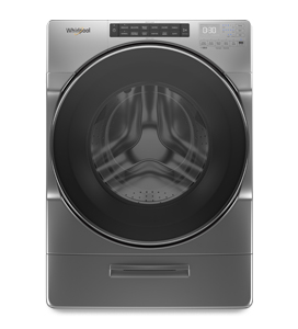 Lavadora Carga Frontal HE  Whirlpool color gris cromado, con capacidad de 21 kg y sistema Load & Go que permite cargar detergente hasta para 40 cargas.