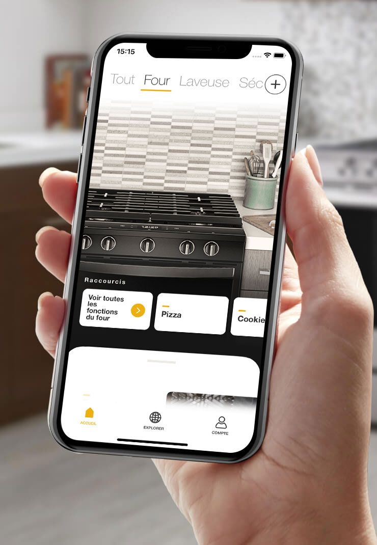 Using the Whirlpool® app on a smartphone to check the progress of what's cooking in your connected oven.