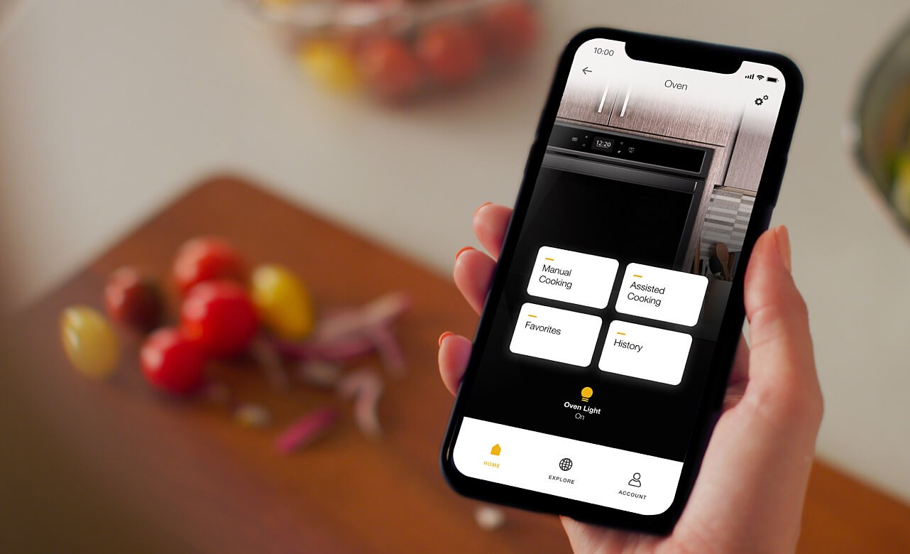 Smartphone with My Oven screen in the Whirlpool® App