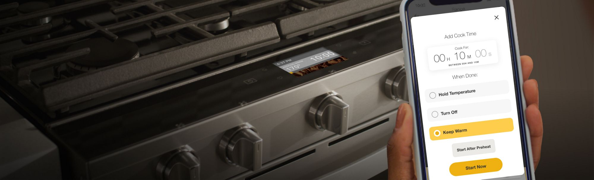 Setting oven to Keep Warm in the Whirlpool® app