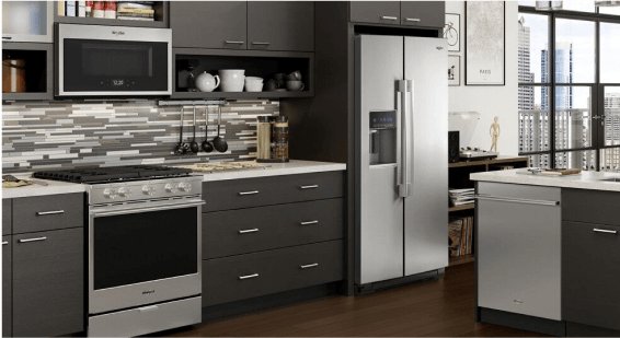 A Whirlpool® kitchen appliance suite.