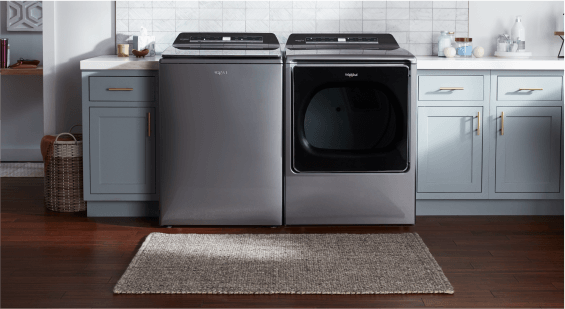 A Whirlpool® top-load laundry pair.