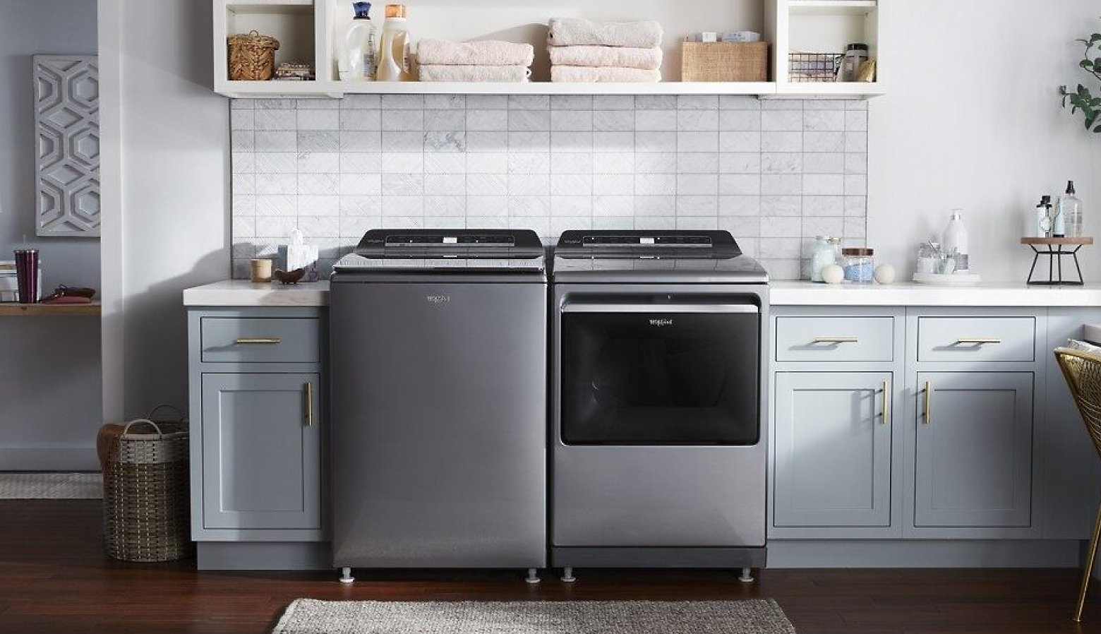 Top load laundry pair in a bright laundry room