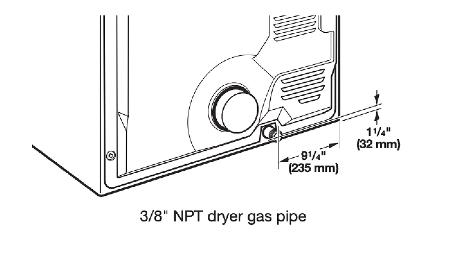 A diagram showing the back of a gas dryer.