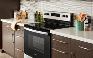 A Whirlpool® range with a clean glass cooktop