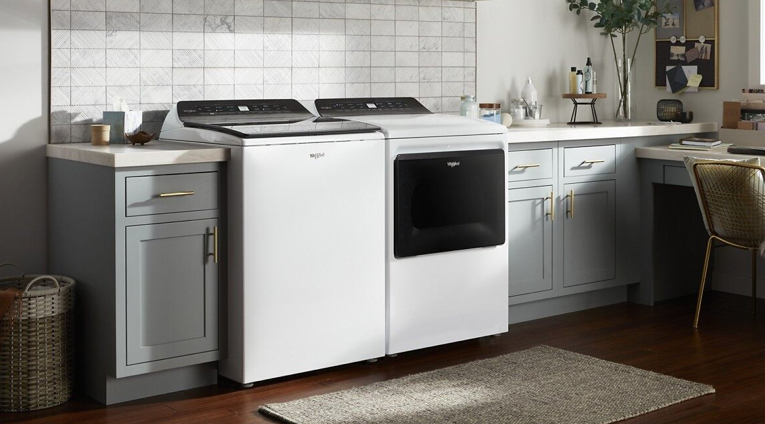 A Whirlpool® Washer and Dryer pair.