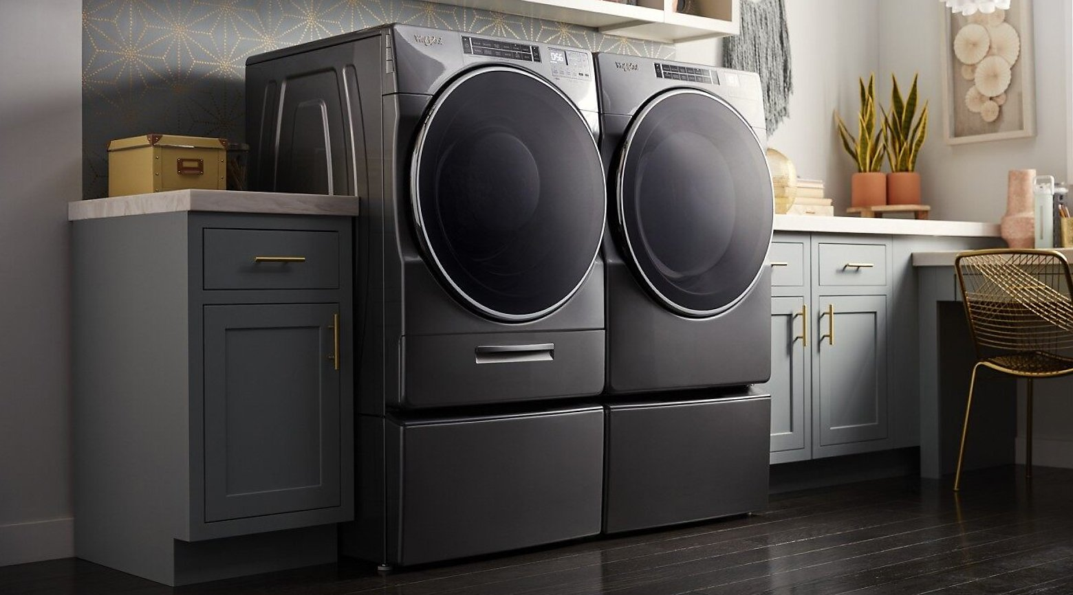 A Whirlpool® Front Load Washer and Dryer