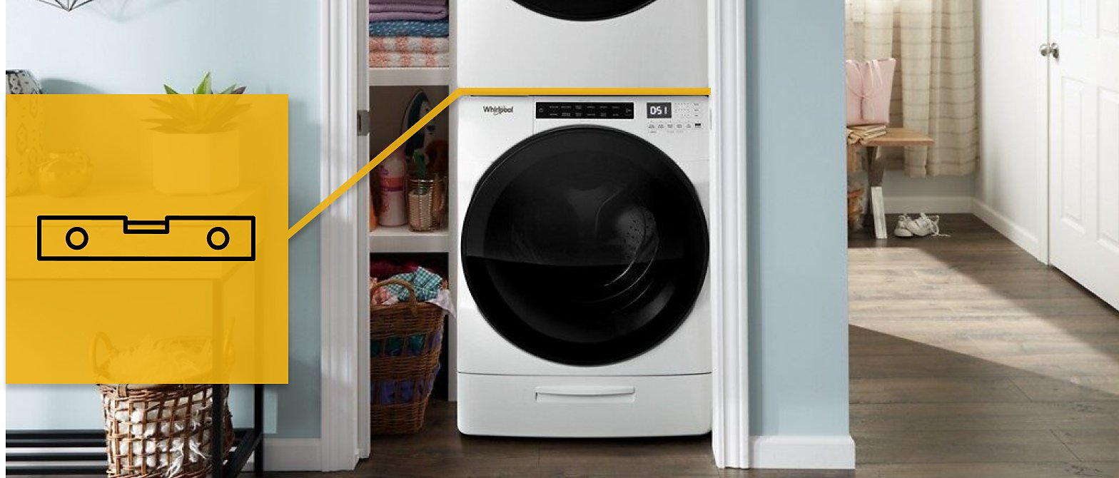 Washer with a leveling icon