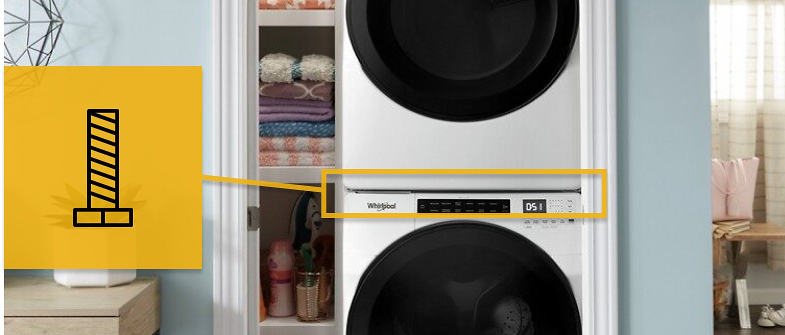 Close up of stacked white washer and dryer with a screw icon