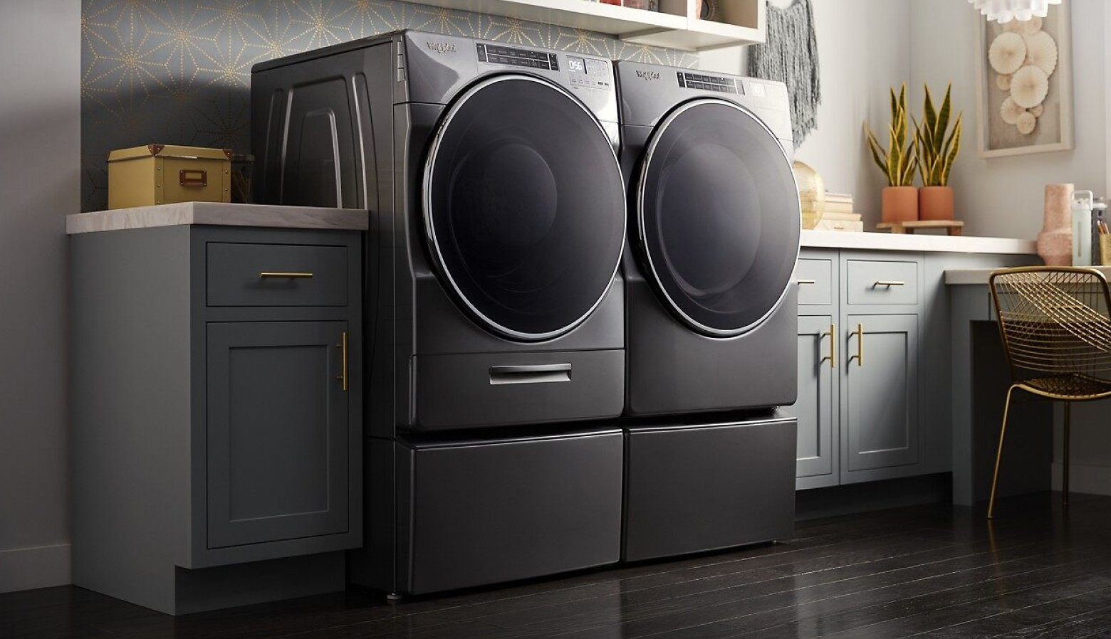 A front load laundry pair in a laundry room