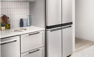 A counter-depth refrigerator in a kitchen