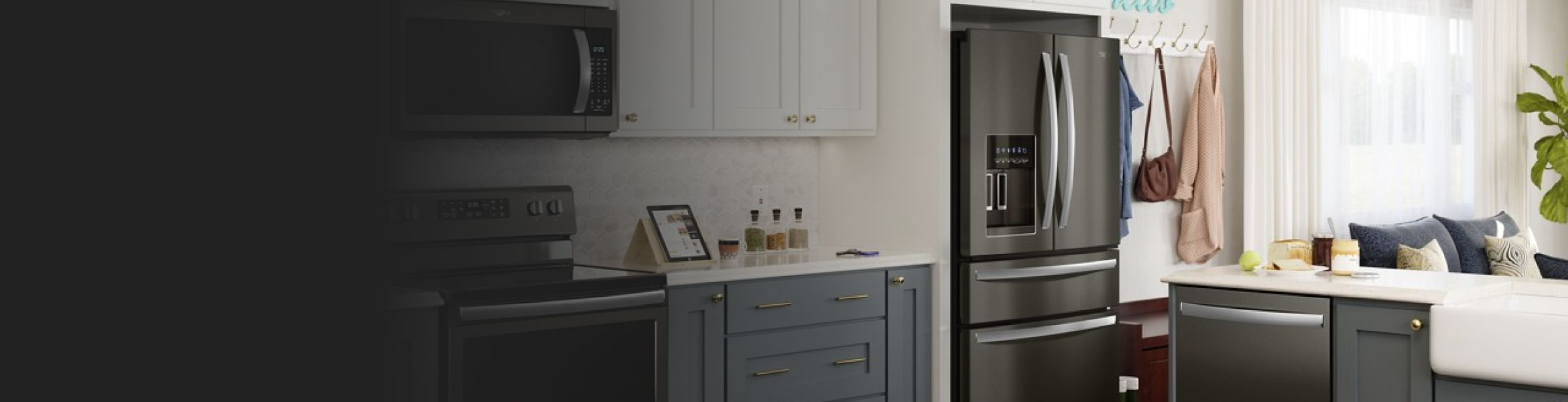 French door refrigerator in kitchen with blue cabinets