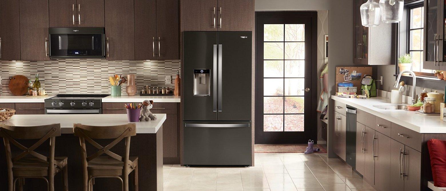 French door refrigerator in a big kitchen