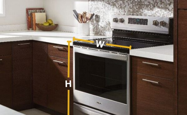 A Whirlpool® range with dimensions