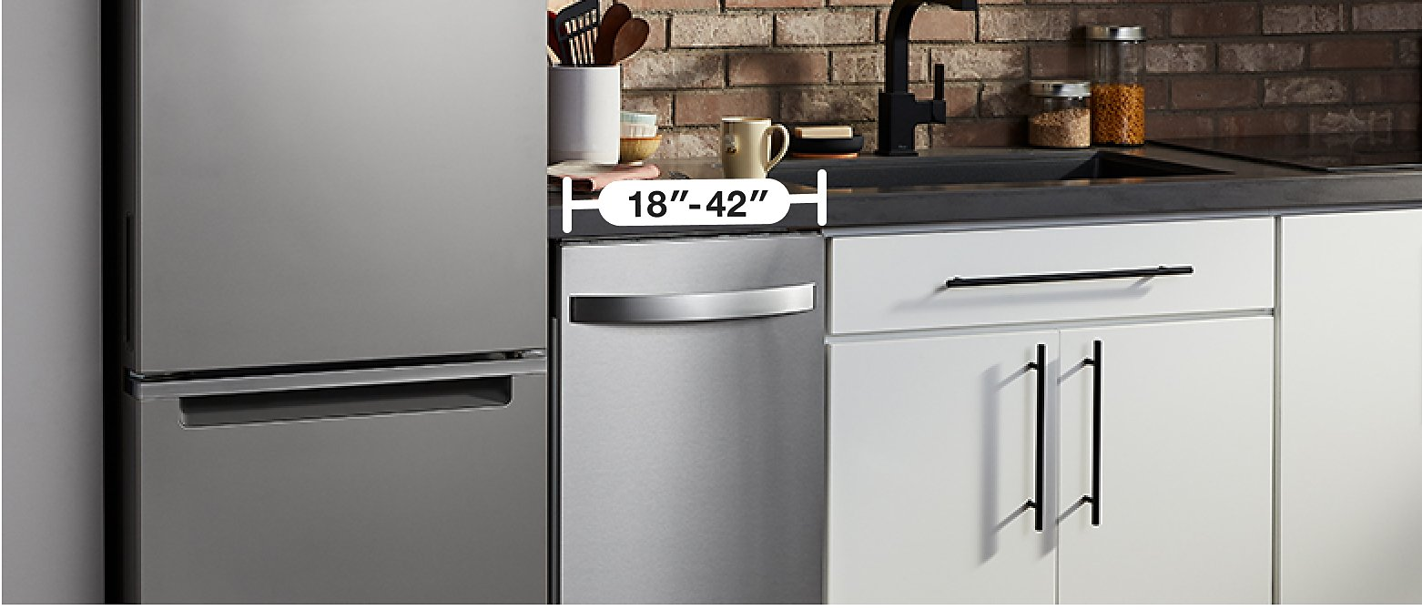 Kitchen with dishwasher showing width measurement range