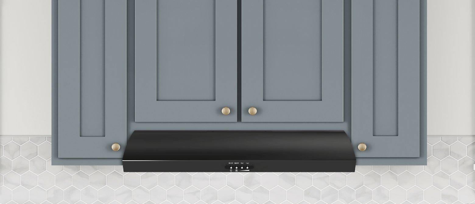 Black undercabinet hood under blue shaker cabinets